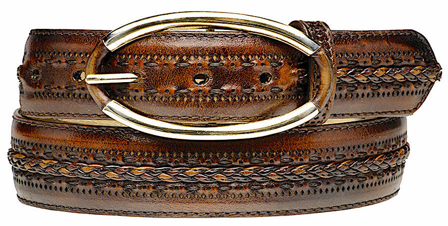 Cuadra handmade women's brown braided engraved leather casual western belt in Vancouver and Canada