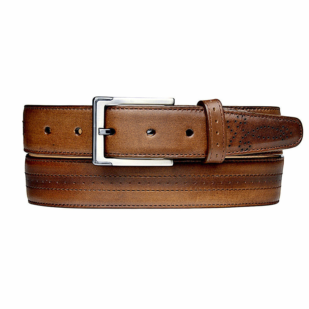 Unique Cuadra handmade men's brown maple burnished leather belt in Vancouver and Canada