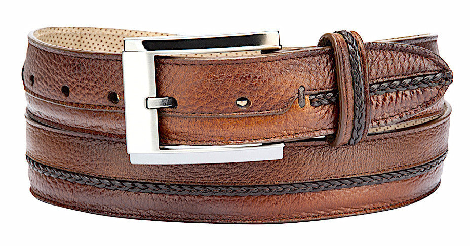 Cuadra handmade men's casual dressy brown deer leather belt in Vancouver and Canada