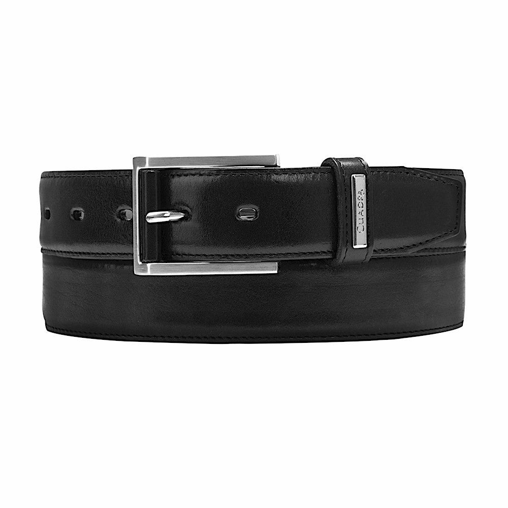 Cuadra handmade men's classic black quality leather belt in Vancouver and Canada