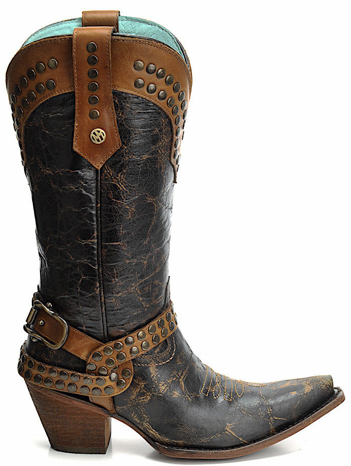Montana women's studded vintage western cowgirl boots handmade of genuine leather hand-dyed brown oak with buckle and studded straps in Vancouver and Canada