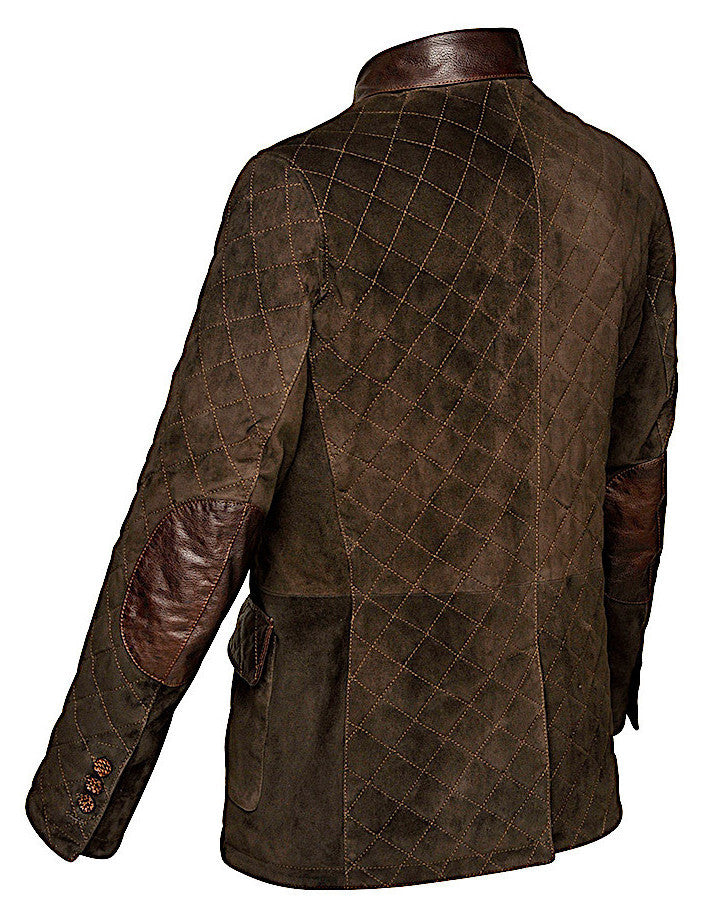 Unique Cuadra handmade men's hunter quilted brown lamb suede leather jacket in Vancouver and Canada