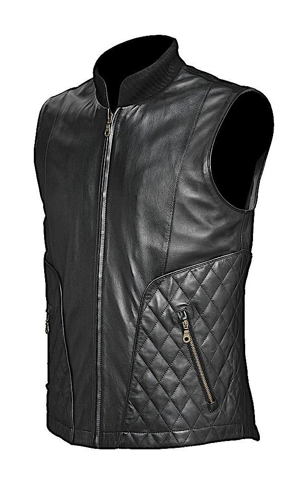 Unique Cuadra men's quilted vest handmade of quality black lamb leather and suede in Vancouver and Canada
