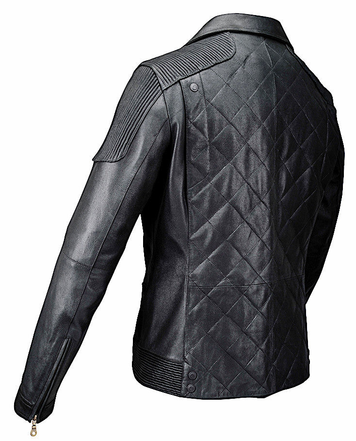 Stylish Cuadra handmade quality men's black lamb leather zipper biker jacket in Vancouver and Canada