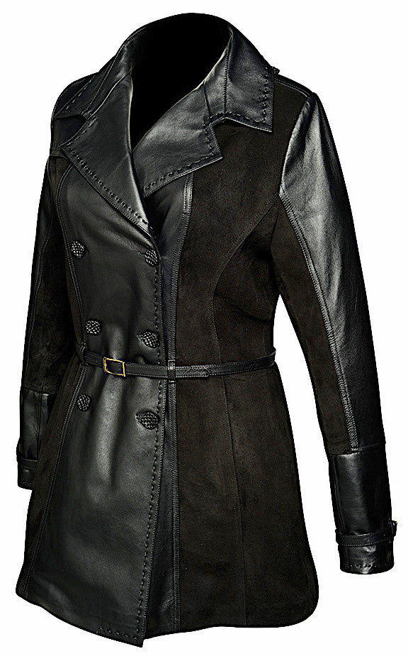 Fashionable Cuadra women's handmade black lamb suede leather belted coat with double-breasted design in Vancouver and Canada