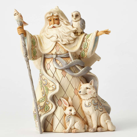 White Woodland Santa with Cane - One Love For All - Jim Shore