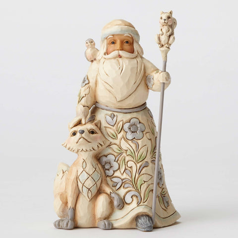 White Woodland Santa w/Fox - Gracious Giving To All