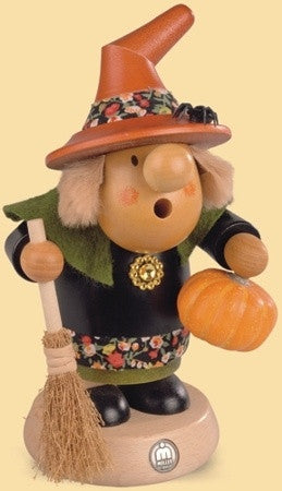 Smoking man, Muellerchen Halloween witch with pumpkin, 4.3x7.5 inches