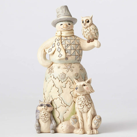 White Woodland Snowman w/Owl - Kindered Spirits - Jim Shore