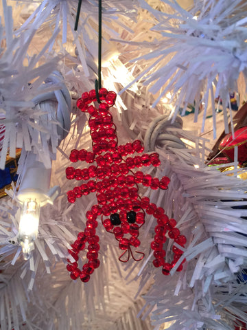 Hand beaded lobster ornament