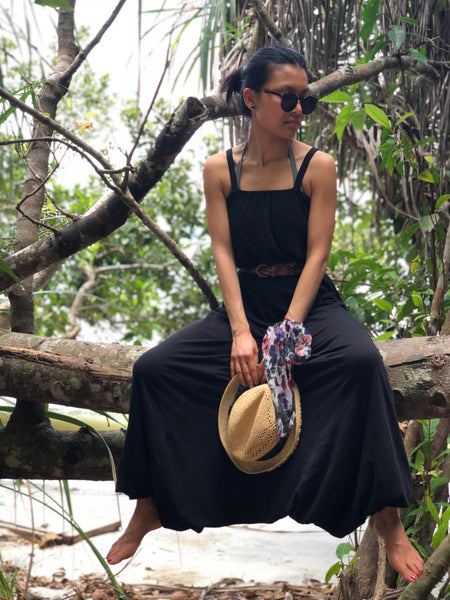 Forgotten Tribes - Plain black cotton harem jumpsuits with pockets
