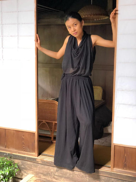 Forgotten Tribes - Harem pants - Voluminous cotton palazzo trousers - Lightweight sheer sleeveless top