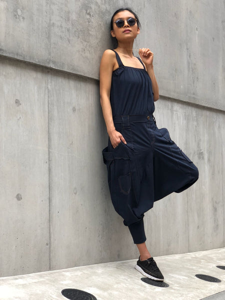 Denim style cotton harem jumpsuits with pockets