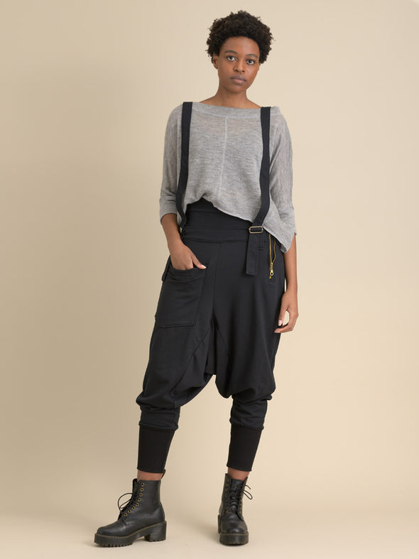 Suspenders Harem Pants with side zips - Forgotten Tribes
