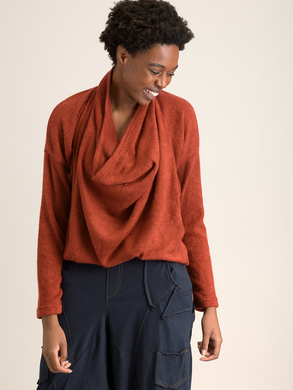 Draped Front Knitted Top - Brick - Forgotten Tribes