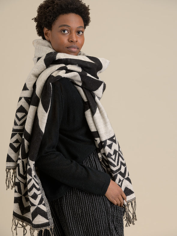 Oversized Geometric Scarf - Black - Forgotten Tribes