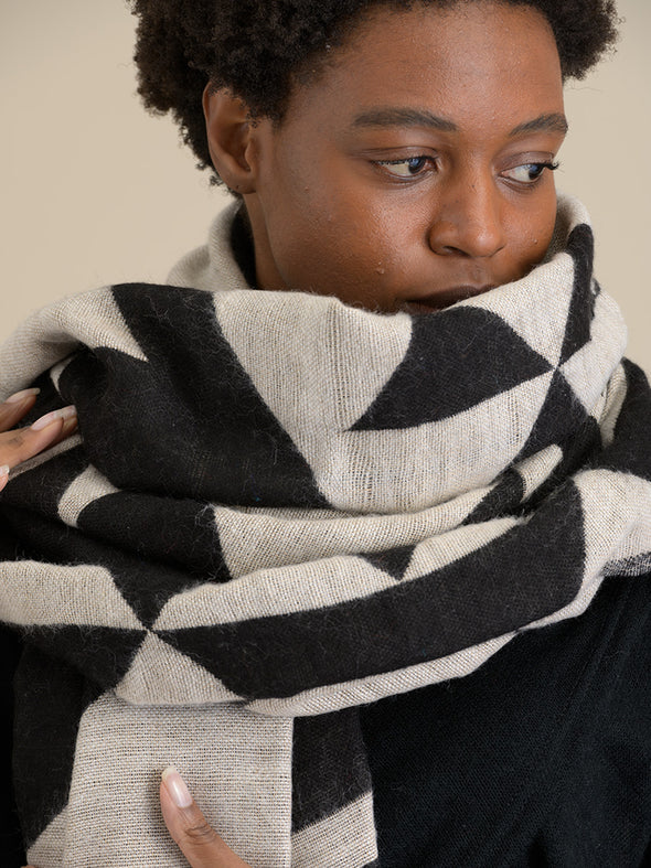 Oversized Geometric Scarf - Black & White - Forgotten Tribes