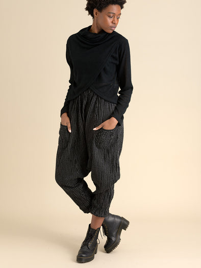 Crinkled cotton low crotch harem trousers- black with stripes - Forgotten Tribes