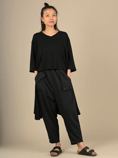 Barrel Leg Trousers with Asymmetric Pockets - Forgotten Tribes