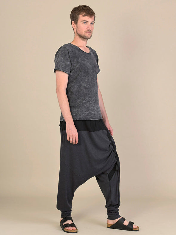 Bi-Colour Asymmetric Harem Pants for Men - Forgotten Tribes