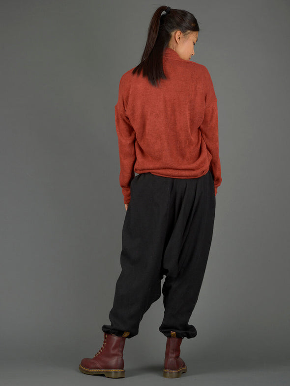 Plain Black Warm Harem Pants - Low Crotch - Forgotten Tribes