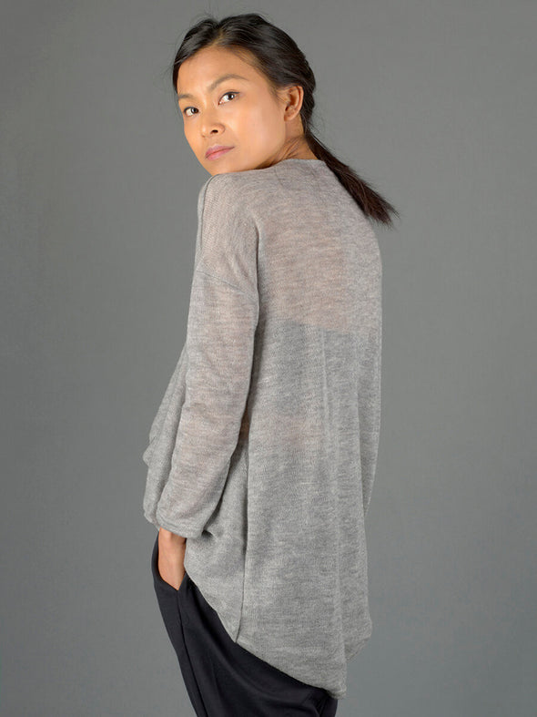Twist Front Knitted Top - Light Grey - Forgotten Tribes