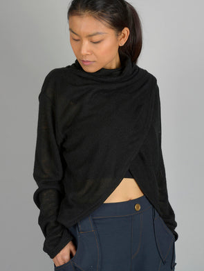 High Neck Wrap Front Top - Black - Forgotten Tribes