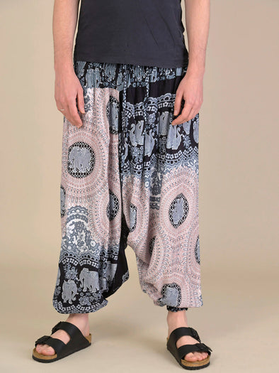 Elephant Honeycomb Harem Pants for Men - Low Crotch - Forgotten Tribes