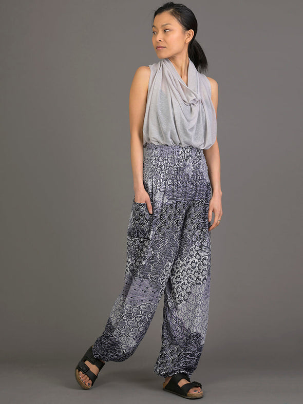 Feather Pattern Harem Pants - High Crotch - Forgotten Tribes