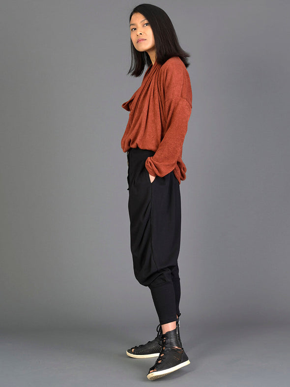 High-waisted Harem Pants with Button Front - Forgotten Tribes