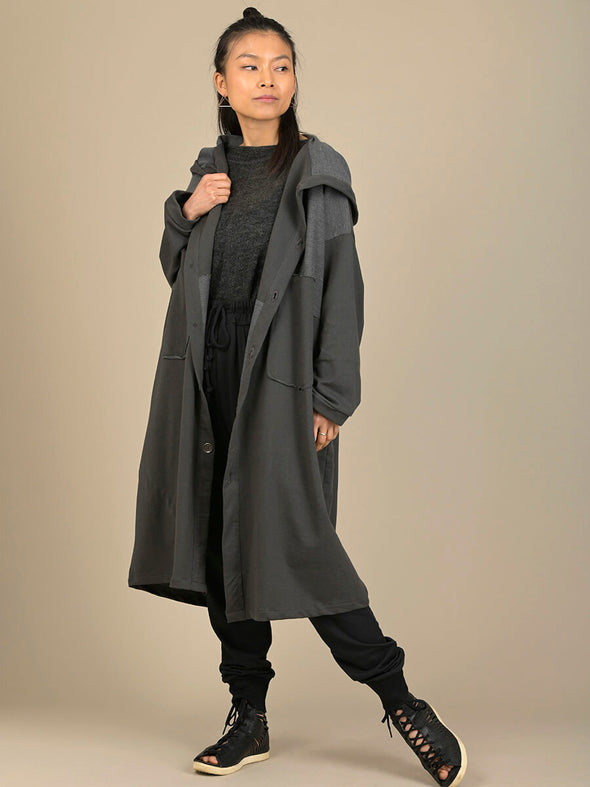 Hooded Coat with Patch Pockets - Forgotten Tribes