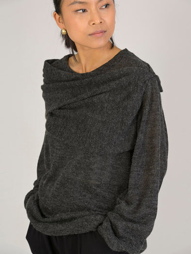Knitted Top with Asymmetric Neckline - Forgotten Tribes