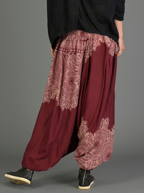 Mandala & Feathers Harem Pants - Low Crotch - Forgotten Tribes