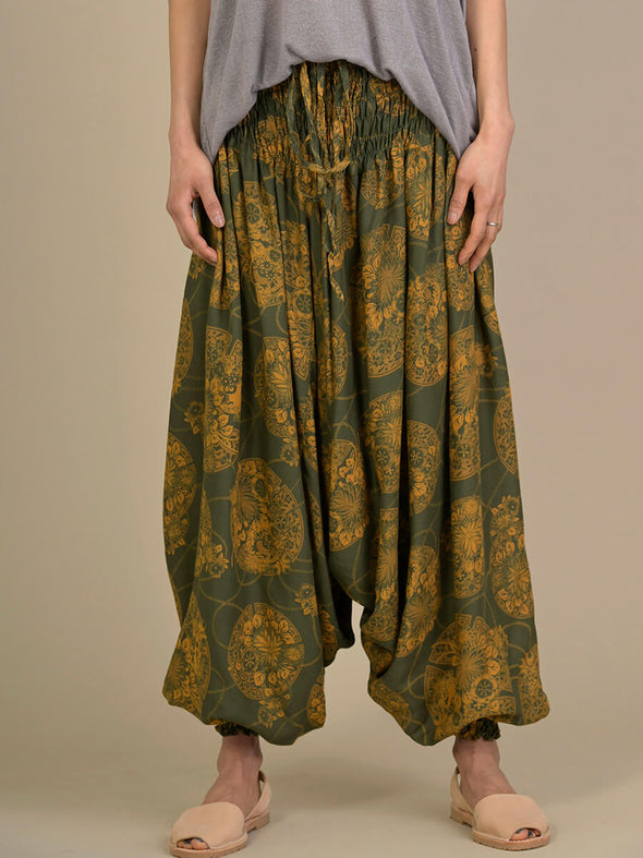 Oriental Flower Harem Pants - Low Crotch - Forgotten Tribes