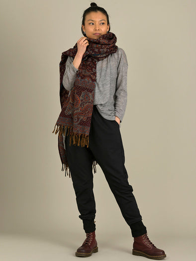 Oversized Giant Paisley Print Scarf - Maroon - Forgotten Tribes