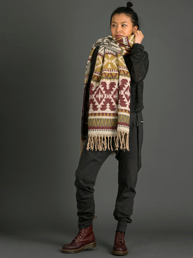 Oversized Navajo Style Print Scarf - Burgundy & Beige - Forgotten Tribes