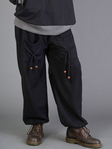 Plain Black Warm Harem Pants for Men- High Crotch - Forgotten Tribes