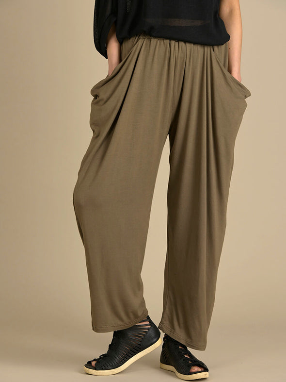 Relaxed Straight Leg Trousers with Draped Pockets - Forgotten Tribes