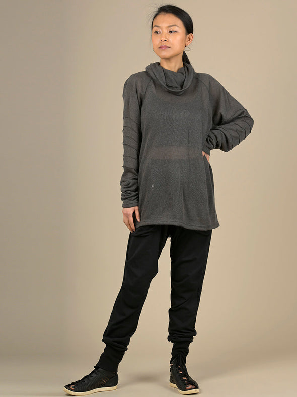 Roll Neck Semi-sheer Knitted Top - Forgotten Tribes