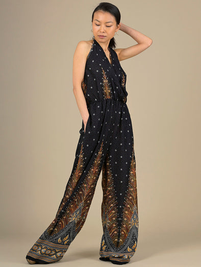 Peacock Halter Neck Jumpsuit - Forgotten Tribes