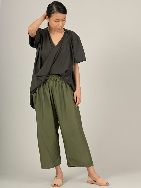 Plain Colour Harem Pants - Wide Leg Cropped - Forgotten Tribes