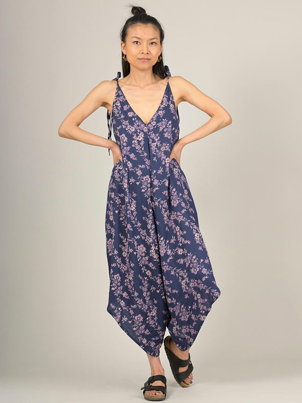 Flower Meadow print Tie-strap Jumpsuit - Forgotten Tribes