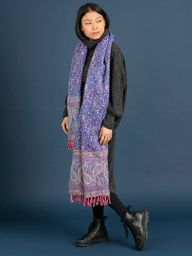 Oversized Giant Paisley Print Scarf - Violet - Forgotten Tribes