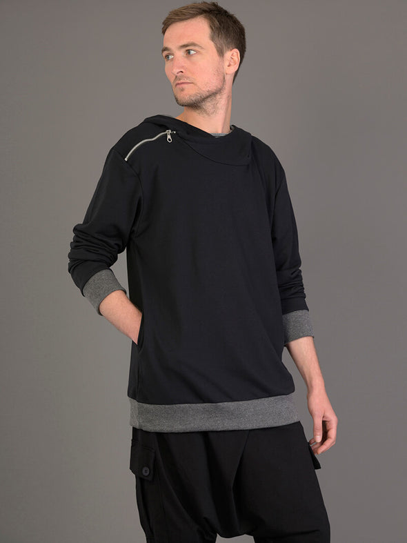 Hoodie with Side Shoulder Zip for Men - Forgotten Tribes