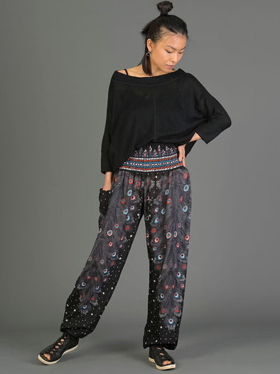 Peacock Feathers Harem Pants - High Crotch - Forgotten Tribes