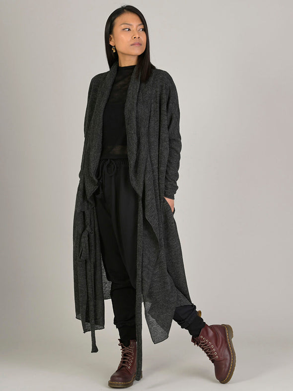 Wrap Style Belted Long Cardigan - Forgotten Tribes