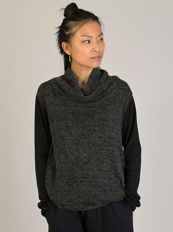 Dual Fabric Cowl Neck Jumper - Forgotten Tribes