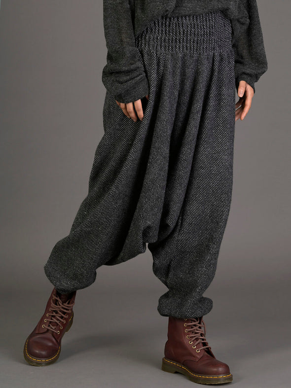 Grey Stripes Wool Harem Pants - Low Crotch - Forgotten Tribes