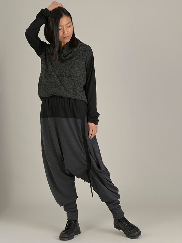 Bi-Colour Asymmetric Harem Pants - Forgotten Tribes