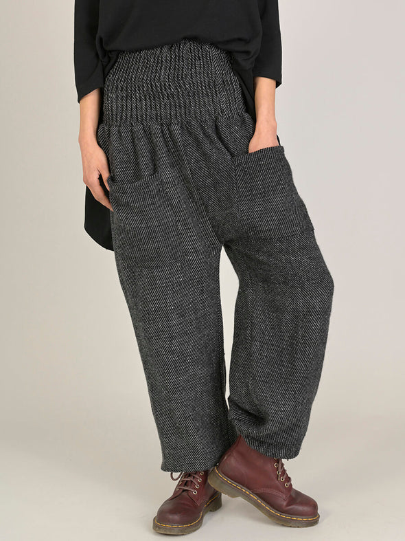 Grey Stripes Wool Harem Pants - High Crotch - Forgotten Tribes